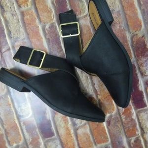 Qupid Shoes Shoes - Black Wrap Buckle Flats